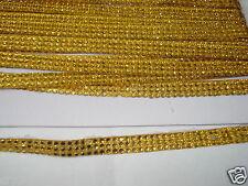3strip GOLD iron-on hotfix rope reel rhinestone crystal