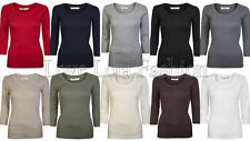 Womens Tops 3/4 Sleeve Cotton T Shirts Ladies Cotton Plain Crop Tees Size 8 - 16
