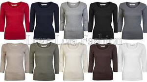 Womens Tops 3/4 Sleeve Cotton T Shirts Ladies Cotton Plain Crop Tees Size 8 - 16