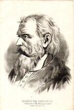 Stampa antica RITRATTO UOMO CON BARBA E CAPELLI BIANCHI 1850 Old Print
