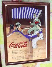 Ancien Miroir Publicitaire Sérigraphie Coca-Cola Scène 1920 Prohibition aux USA