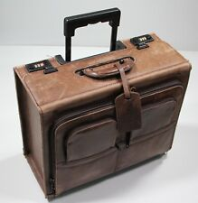 Brown Leather Rolling Pilot Salesman Sample Briefcase Luggage w/ Orvis Tag