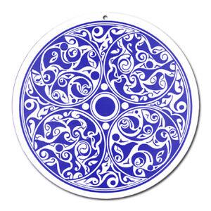 Fenster Glas Bild Nr. 49. Mandala 2. blau Ø 10cm Licht Fänger keltisches Symbol