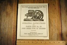 John Deere Model E Instruction Book For Hit Miss Gas Engine