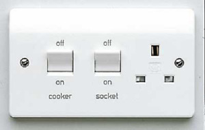 K5060WHI Cooker Control Switch, DP Main Switch & Socket, Flush