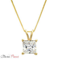 "2 Ct Princess Cut 14K Yellow Gold Solitaire Pendant Necklace Box With 16"" Chain"