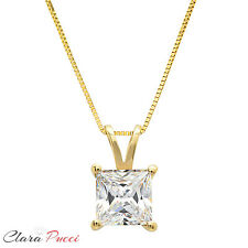 """2 Ct Princess Cut 14K Yellow Gold Solitaire Pendant Necklace Box With 16"""" Chain"""