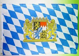 Bayern Fahne bayerische Flagge mit großem Staatswappen 90 x 150 cm Oktoberfest