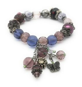 Purple Glass Beaded Stretchy Bracelet Silver Plated Dangle Charms Butterfly
