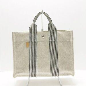 Auth HERMES New Fourre Tout PM Cream Black Canvas Tote Bag