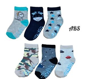 Baby Toddler Boys ABS Cotton Soft Anti Non Slip Socks 3 Pairs Size 6-24 Months