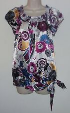 """My Michelle Multi Color Cap Sleeve Top With Tie Bottom L Bust 36"""" Length 26"""""""