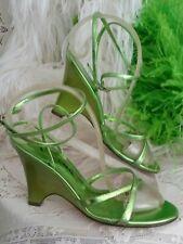 "Nina Summer Shoe🌄7.5M Metallic Green Sandal Wedge Leather Strappy 3.5"" Heel"