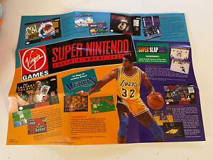 "Virgin Games Super Nintendo SNES 1-Sided Poster 15""x11"" VG Condition VIR-SNS-US"