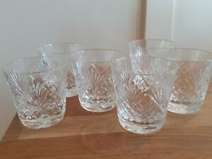 5 x Vintage Antique crystal Cut Glass Tumblers Spirits Whisky