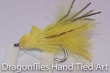 3 Baitfish Pike Zander Bass Yellow Dalberg  Fly Fishing Flies with weed guard