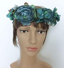 Green Dark Cyan Floral Wedding Beach Party Tiara FlowerCrown Headband photopro