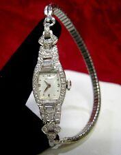 PRISTINE VINTAGE LADIES HAMILTON PLATINUM 1.5 CTW DIAMOND 22 JEWELS WATCH 1948