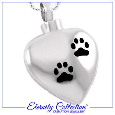 NEW! ECN31 Eternity Collection Cremation Jewellery 'Silver Paw Print Heart' Pet