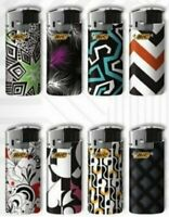 Bic Mini Jr Lighters Black & White - 8 electric lighters with color and design