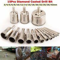 15 Pcs 3-42mm Diamond Coated Drill Bit Set Hole Saw Cutter Metal Tool Glass