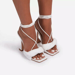 Women Sexy Lace Up Open Toe Sandals High Heels Shoe Pumps Stiletto Party Evening