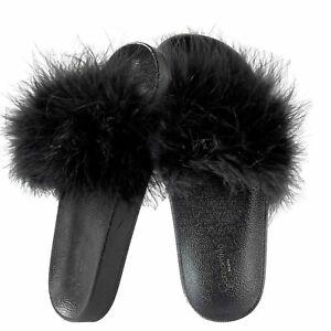 Ciabatte donna estive Camomilla Milano Nere Pelliccia Pantofole basse mare 37