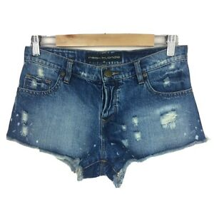 Neon Blonde Denim Shorts Women's 26 Cut Offs Distressed Ripped Button Fly EUC
