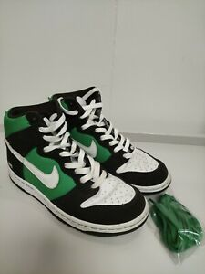 NIKE iD UK5 green black and white Hi Tops lace up personalised in good condition