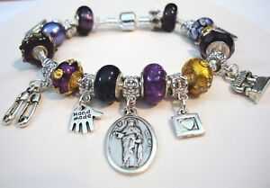 Patron St Rosa of Lima quilter European charm Murano beads bracelet sew machine