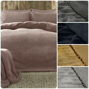 Fusion Ribbed Teddy Bear Bedding Fleece Duvet Cover Set Cosy Super Soft Fluffy