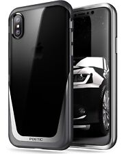 Poetic Lucent【Metallic Coating】Clear Hybrid Bumper Case For Apple iPhone X Black