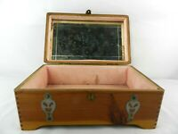 Vintage Jewelry Box Mirror Treasure Chest McGraw Red Cedar Box Company NY.