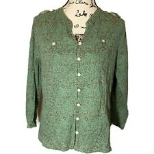Orvis M Button Down Top Green Floral Damask Front Pockets