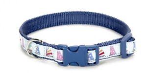 Douglas Paquette SAILBOATS ICE BLUE Nylon & Ribbon Adjustable Dog Collar Harness