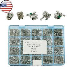 US 50 Sets Dental Orthodontic Metal Bracket Mini Roth 022 3 4 5 Hooks Laser Mark