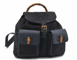 Authentic GUCCI Bamboo Backpack Suede Leather Navy Blue D9112