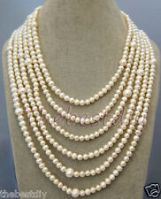 6 Row handmade Natural  Pearl  necklace Statement Necklace wedding Christmas