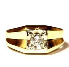 10k yellow gold .33ct SI3-I1 I diamond mens solitaire ring 7.9g gents vintage