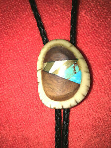 Vintage Bolo Tie With Inlaid Turquoise and Wood Set In Bone
