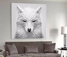 XXL LEINWAND-BILD 100x100x5 GEMÄLDE WOLF 3D WEIß-SCHWARZ MODERN-ART CANVAS IKEA