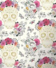 Flower Skull Floral Wallpaper Butterflies Art Hearts Roses Funky Rasch