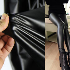 Black 4 Way Stretch Faux PU Leather Vinyl Trousers Fabric Elastic Dress Skirt