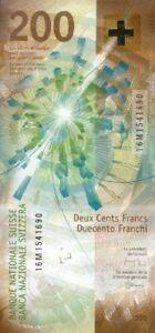 SWITZERLAND 200 FRANCS 2018 (2016) P-NEW UNC