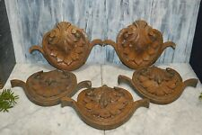 One Antique Black Forest Small Pediment Carved Wood Medallion Plaque 5 Avail