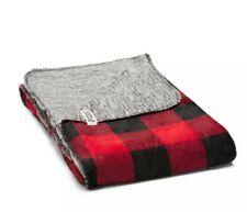 Victoria Secret Red Black Buffalo Plaid Super Soft Reversible Blanket, NWT