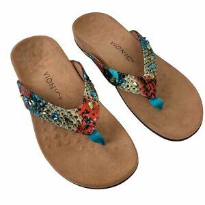 VIONIC Lucia Toe Post Thong Sandals Size 7 Women Rhinestone Snake Print