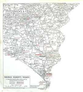 THOMAS HARDY'S WESSEX: 1964 Map of Dorset & Parts of Somerset, Wilts & Hants
