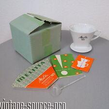 NEU Melitta 3 Loch Porzellan Kaffee Filter Weiß Nr. 102 grüne Schrift 50er J.