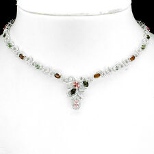 GENUINE NATURAL FANCY COLOR TOURMALINE &W CZ STERLING 925SILVER TENNIS NECKLACE